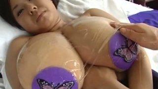 Nice view of BBW Japanese Fuko's enormous saggy oily boobies image