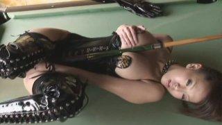 Kinky Japanese brick house Hitomi Tanaka wears black leather uniform image