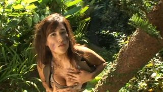 Lovely supermodel babe Diana Okuai is covered in mud image