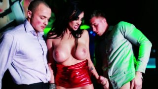 Image: Ample breasted tattooed girl Lexy Ward in hot threesome
