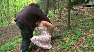Busty Dia Zerva getting her pussy fucked in the forest image