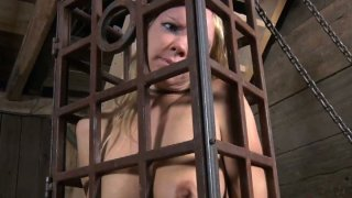 Voracious hoe Rain DeGrey gets locked in cell and gives a blowjob image