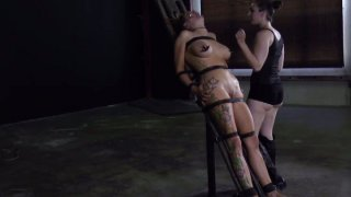 Image: Ugly bitch Rain DeGrey is starring in a hardcore BDSM video getting her nipples squeezed badly