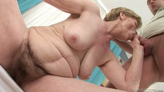 Fat milf Maria E gets her pussy_fucked by young dude image