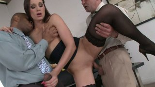 Shapely office whore Ashley fucks her coworkers in threesome image