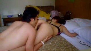This guy likes to eat and pound hairy snatch of his Asian girlfriend image
