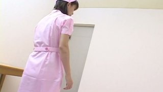Slutty Japanese nurse Ai Himeno seduces the patient and sucks_his cock image