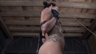 Daring bitch Hailey Young enjoys playing gonzo BDSM games image