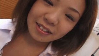 Fat Japanese student chick Maki Ishizaka has a foreplay with her boy image