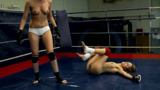 Slim pale wrestler Leyla Black has a fight with horny bitch image
