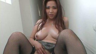Provocative Asian slut Scarlett Ventura poses on a cam and gives deepthroat blowjob image