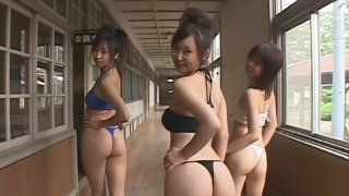 Mouth watering Japanese babes Yumi Ishikawa and her friends are posing on cam making your dick dripping image