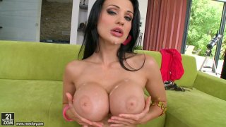 Magnificent brunette porn star_Aletta Ocean gives double blowjob image