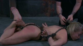 Image: Chain bondage for gfilthy_disgraceful blonde whore Dia Zerva