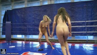 Slutty fighter Diana Stewart goes against_brunette and eats her pussy in the ring image
