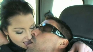 Hussy girl Rachel Evans gives blowjob in the car image