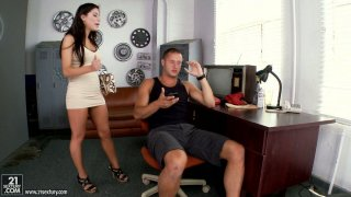 Seductive brunette Alexa Nicole provides a cock with a_blowjob and footjob image