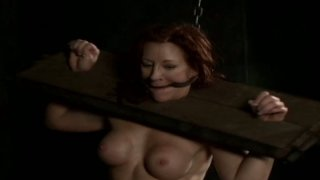 Plump nympho Catherine de Sade is hogtied and moans out loud image