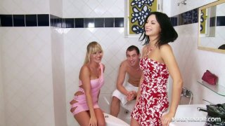 Bosomy brunette seductress Renata Black has a threesome in the bathroom image