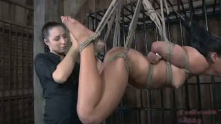 Latin chic tied and hanged to the ceiling in hot BDSM sex video image