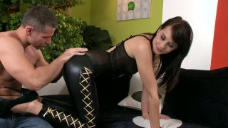 Gothic chick in leather pants Leda gives a blowjob for cum image