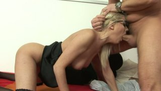 Voluptuous nerd Jasmine Rouge gets fucked from_behind and_moans image
