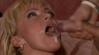 Image: Blonde mom fucks furiously until she gets her mouth filled with sticky glue
