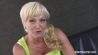 Blonde mom gives a short interview commenting on the sex clip she's done lately image