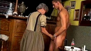 Wrinkled old slut Matilda provides a dick with a blowjob and reverse ride image