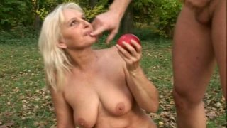 Thirsting for orgasm slutty old Szandra desires to be fucked in the woods image