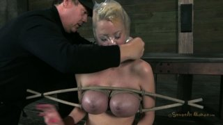Extreme tit bondage and mouth fuck for blonde hoe Marica Hase image