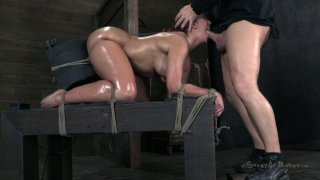 Image: Chunky chick with huge ass Kelly_Divine gets mouth fucked in BDSM session