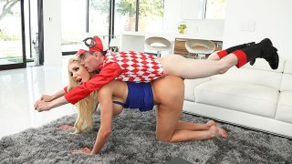Image: Blonde busty MILF found herself a boy-toy to play with