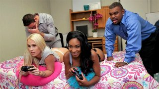 Layla Love and her ebony black-haired friend in a foursome fuck fest image