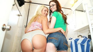 Two amateur teen girls share a hard dick image