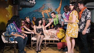 Tied up, undressed and groped on a party image
