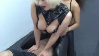 Aged Guy Gets Dominated By A Pair Of Busty Chicks image