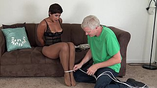 Image: Ebony mature getting tied up and ball-gagged