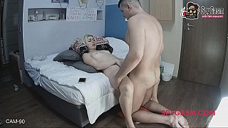 Hidden cam caught amateur couple fucking on a bed image