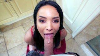 Anissa Kate sucks cock and licks balls in POV image