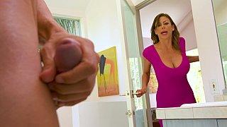 Spotting her son's friend masturbating in the bathroom image