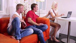 Image: Virgin teen & two horny guys
