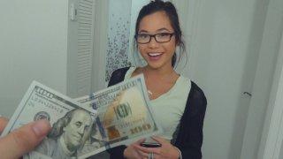 Money Makes Nerdy Girl Smile & Gobble! image