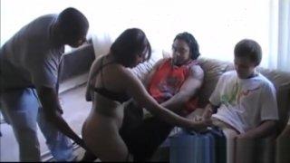 Image: Hot amateur ebony babe gangbanged on sex party
