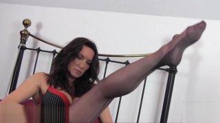 Milf slips sexy long legs inside pair silky nylon stockings | milf nylon Movie image