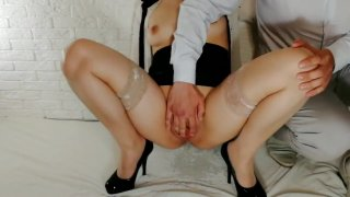 Naughty, hot, young secretary in stockings gets squirt, blowjob and fucking image