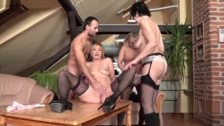 Three mature ladies catch a guy jerking off - Mature-nl.eu image