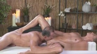 Masseur Licks And Fucks Oiled Babe image