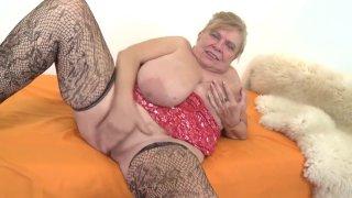 Fat chubby grandma Darla masturbating. image