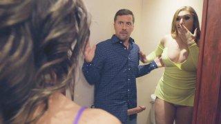 Xperienced Butt Bunny Alexis Tutors Skylar in Bathroom Anal image
